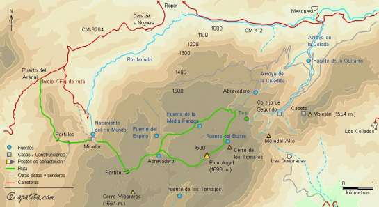 Mapa - Subida al Pico Argel desde el puerto del Arenal por el mirador de los Chorros