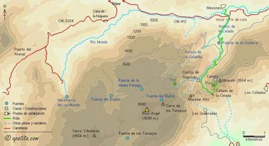 Mapa - Subida al Molejón desde Mesones por la pista de la Celada