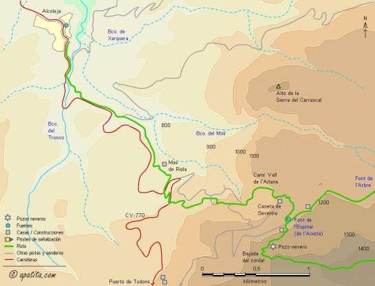 Mapa - Subida a Aitana por el Camí Vell y el cordal desde Alcoleja