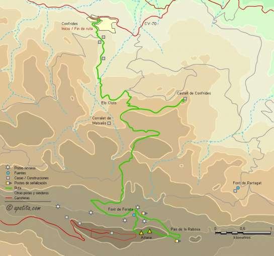 Mapa - Subida a Aitana y al castell de Confrides desde Confrides