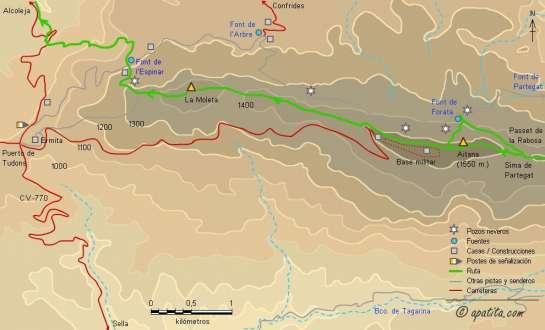 Mapa - De Finestrat a Alcoleja por las cimas del Puig Campana, Ponoig, Cabal y Aitana