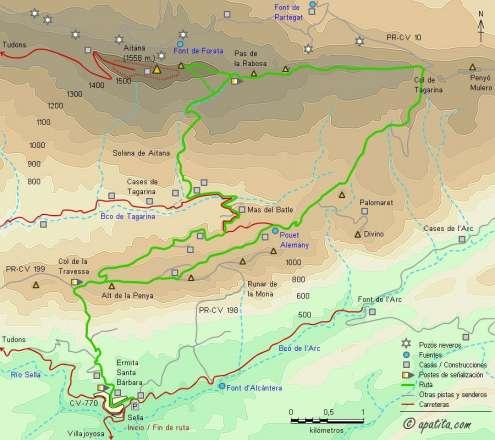 Mapa - Subida a Aitana desde Sella