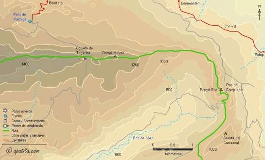 Mapa - Ruta circular en tres días por la Aitana, Serrella y Xortà