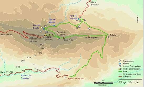 Mapa - Subida a Aitana por el collado de Tagarina