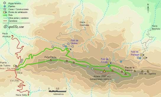 Mapa - Subida a Aitana desde Tudons por el cordal y regreso por el PR-CV 20