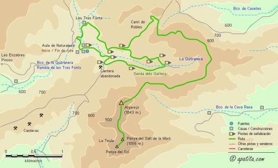 Mapa - Recorrido de subida al Algarejo y la Teula desde el Monte Coto