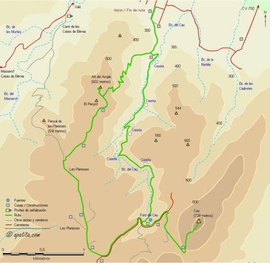 Mapa - Recorrido desde Xaló por les Planisses para subir al Alt del Ample y el Cau