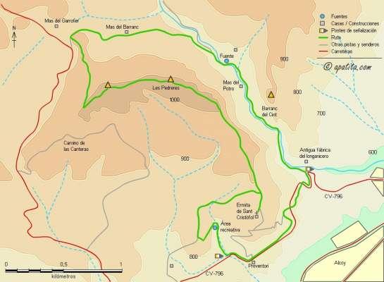 Mapa - Recorrido circular desde el Preventori al Alt de les Pedreres