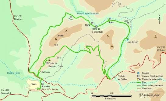 Mapa - Recorrido circular desde Planes por el barranc de la Encantada