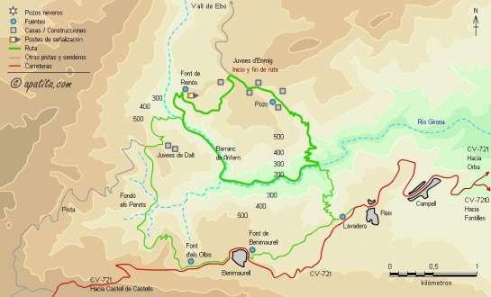 Mapa - Descenso del barranc de l'infern por les Juvees d'Enmig