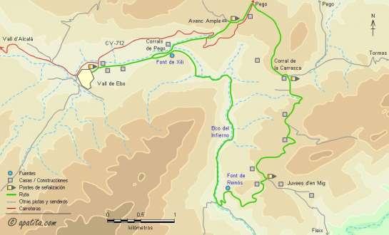 Mapa - Recorrido por la parte senderista del barranc de l'Infern desde Vall de Ebo