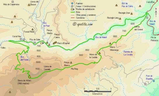 Mapa - Recorrido circular por el barranc de Malafí y la cima de la sierra de Alfaro
