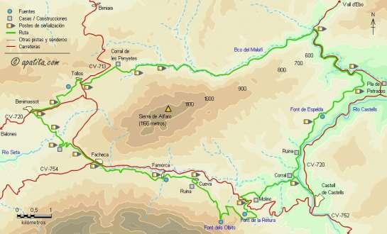 Mapa - Recorrido circular del PR-CV 168 rodeando la sierra de Alfaro