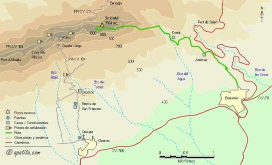 Mapa - Subida al Benicadell desde Beniarrés por la canal