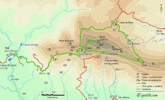 Mapa - Subida a Bernia desde el Algar y ruta circular de la sierra por el PR-CV 7