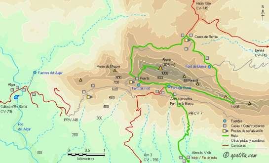 Mapa - Subida a Bernia desde Altea y ruta circular de la sierra por el PR-CV 7