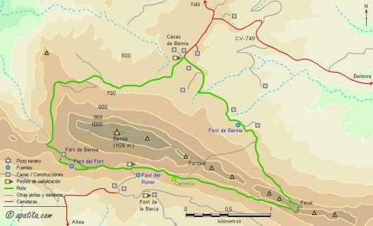 Mapa - Ruta circular de la sierra de Bernia desde Casas de Bernia siguiendo parte del PR-CV 7