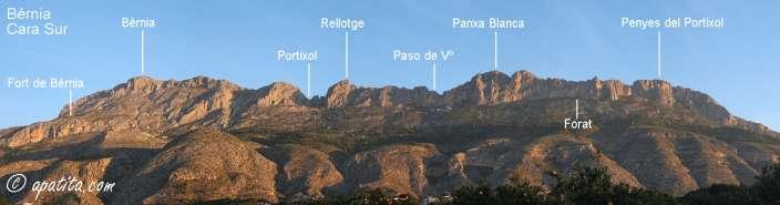 Mapa - Recorrido por el tramo de la cresta de Bernia que precisa material de escalada