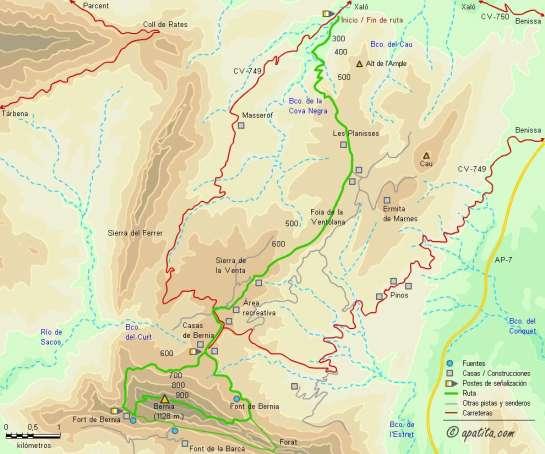 Mapa - Camino de Bernia de Xaló a Casas de Bernia y subida por la umbría de la sierra