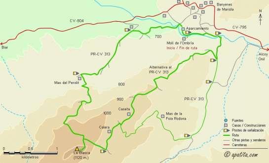 Mapa - Recorrido por la sierra de la Fontanella desde Banyeres siguiendo parte del PR-CV 313