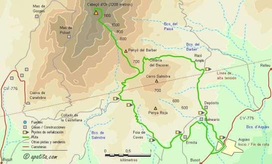 Mapa - Subida al Cabeçó d'Or desde Aigües