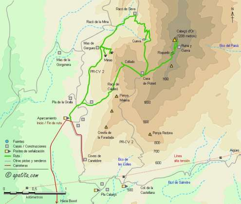 Mapa - Subida al Cabeçó d'Or por el Racó de Calderó y visita a las minas