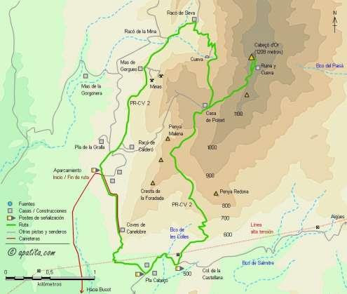 Mapa - Recorrido circular del PR-CV 2 por el Cabeçó d'Or desde las cuevas de Canelobre