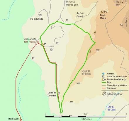 Mapa - Vía de escalada clásica siguiendo la cresta de la Foradada en el Cabeçó d'Or