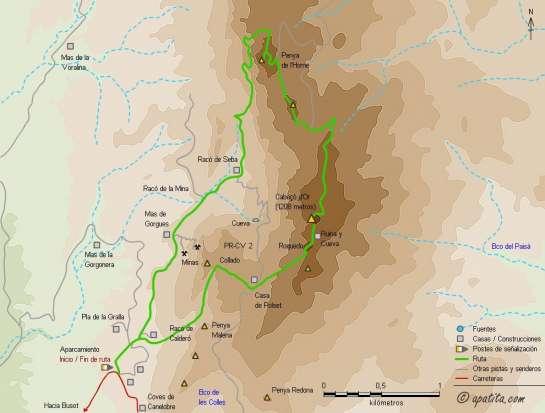 Mapa - Ruta circular por el Cabeçó d'Or pasando por la Penya de l'Home