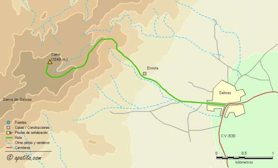 Mapa - Subida al Caire desde Salinas por el PR-CV 159