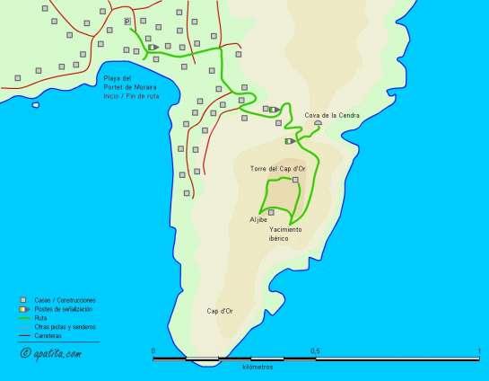 Mapa - Subida del Portet de Moraira a la torre vigía del Cap d'Or y Cova de la Cendra