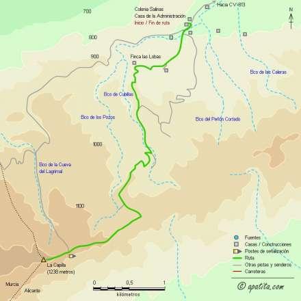 Mapa - Subida a la Capilla desde la Colonia Salinas