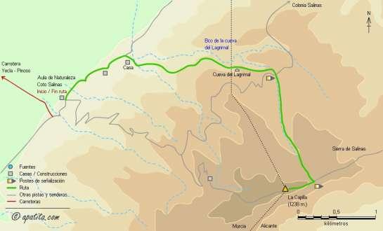 Mapa - Subida a la Capilla por el barranco de la cueva del Lagrimal
