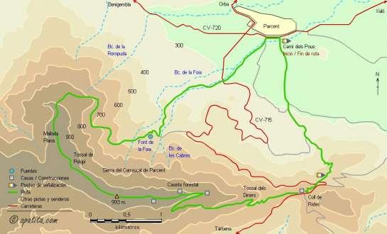 Mapa - Recorrido circular del PR-CV 158 por la sierra del Carrascal de Parcent