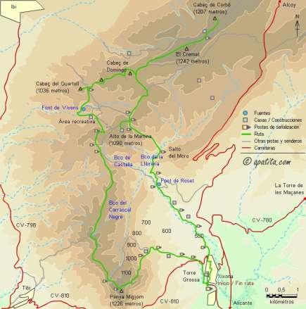 Mapa - Circular desde Jijona por la Penya Migjorn y la Carrasqueta, por los PR-CV 112 y 212