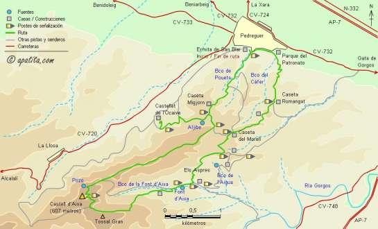 Mapa - Subida al Castell d'Aixa desde Pedreguer siguendo las variantes del PR-CV 53