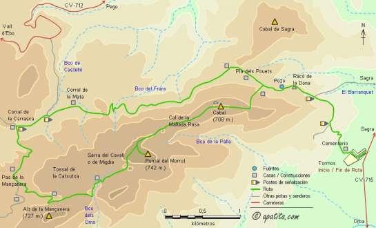 Mapa - Recorrido por la sierra del Cavall (Migdia) desde Tormos siguiendo parcialmente el PR-CV 58