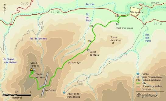 Mapa - Subida al Cocoll desde Benigembla por el PR-CV 427