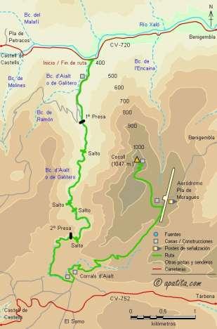 Mapa - Subida al Cocoll por el barranc d'Aialt (o de Galitero)