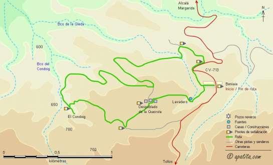 Mapa - Recorrido al barranco del Condoig desde Beniaia