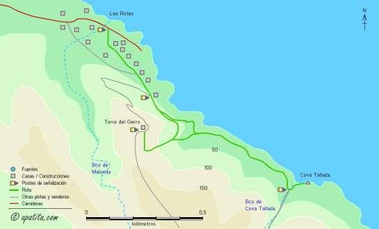 Mapa - Recorrido de Les Rotes a Cova Tallada