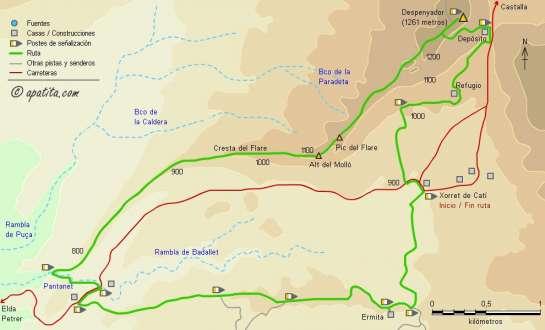 Mapa - Subida al Despenyador por la cresta del Fraile desde Xorret de Catí