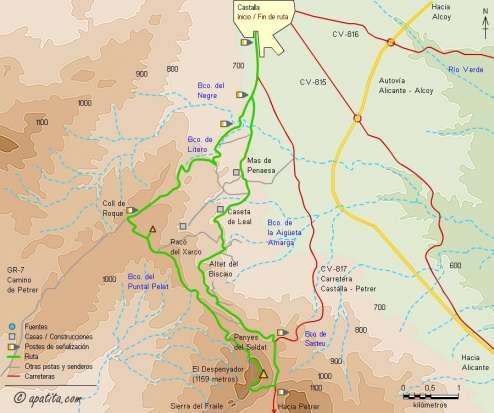 Mapa - Recorrido circular al Despenyador combinando parte de las rutas del PR-CV 85 y GR-7