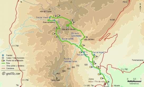 Mapa - Recorrido del PR-CV 112 por la Carrasqueta pasando por la Font de Vivens