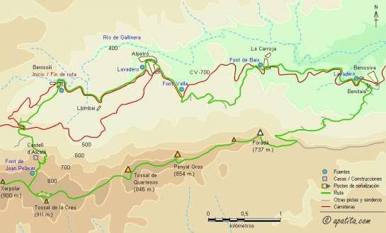 Mapa - Recorrido circular por la Vall de Gallinera pasando por la Foradà y el Castell d'Alcalà