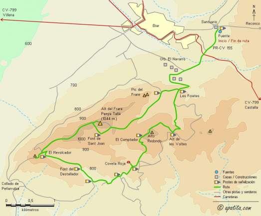 Mapa - Recorrido del PR-CV 155 por la sierra del Frare desde Biar