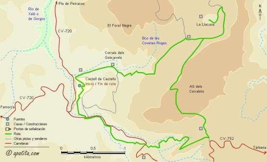 Mapa - Subida a la dolina de la Llacuna desde Castell de Castells