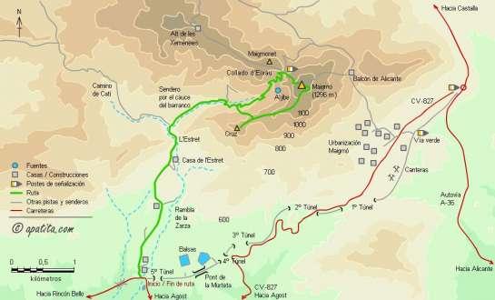 Mapa - Subida al Maigmó desde el Estret por la cruz y bajada por el cable