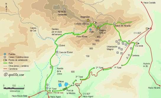 Mapa - Subida al Maigmó por el Estret, collado de la Xau y el cable y bajada por la Vía Verde