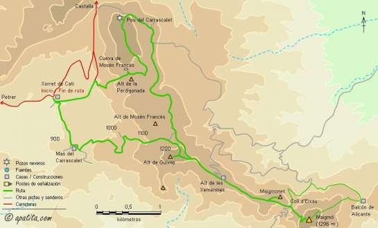 Mapa - Subida al Maigmó desde Xorret de Catí